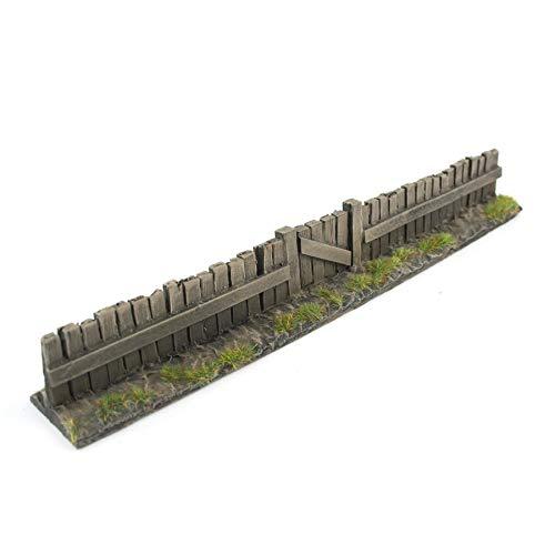 War World Gaming - Valla de Madera con Puerta Pintada x 1 - Wargaming, Escenografía Miniatura, Decorado Miniatura, Paisajismo, Modelismo Wargames, Maquetas