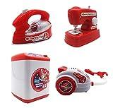 HorBous Machine à Laver Aspirateur Machine à Coudre Fer à Repasser Jouet d'Imitation Kit Electromenager pour Enfant 4 Pieces Set
