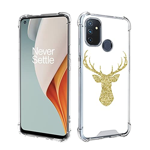 UZEUZA Clear OnePlus Nord N100 Case Shock-Absorption Flexible Full Protection Reindeer Antler Golden Glitter Transparent TPU Anti-scratch Cover for OnePlus Nord N100