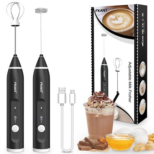 Milchaufschäumer Stab, USB Wiederaufladbar Milchschäumer Elektrisch, Melektrischer Schneebesen 3 Einstellbare Geschwindigkeiten Edelstahl milk Frother für Kaffee Cappuccino Latte Heiße Schokolade