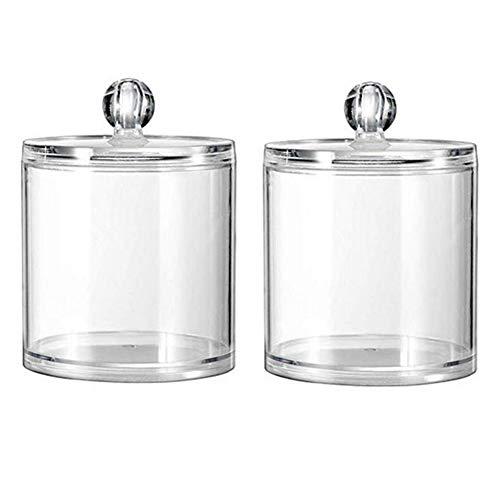 Lot de 2 boîtes de rangement en acrylique transparent pour cotons-tiges, cotons-tiges, tampons de maquillage, rouges à lèvres