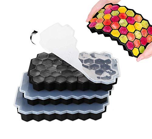 Eiswürfelform Silikon Eiswürfel Form 3er Pack 37-Fach mit Deckel ice cube tray BPA-freie Eiswürfelbehälter für Bier Cocktails Whisky