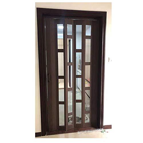 Cheap Interior Closet PVC Folding Door Plastic Folding Toilet Door As Room Divider(32''80'', Teak)