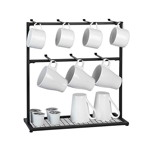 OROPY Coffee Mug Holder Stand, 2 Tier Countertop Mug Tree Holder Rack for Coffee Mugs Cups, Holds 14 Mugs (Metal, Black)