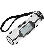 wosume 【 Meer gebruiksvriendelijk 】 Wereldreis-klok, digitale thermometer-wekker, lichte reiswekker met zaklamp voor wandelen, kamperen, reizen in de open lucht