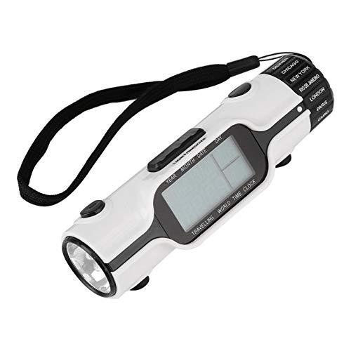 LED Digital Reseväckarklocka Stor Speglad LED-skärm Världstidsväckarklocka med 16 Väckarmelodier