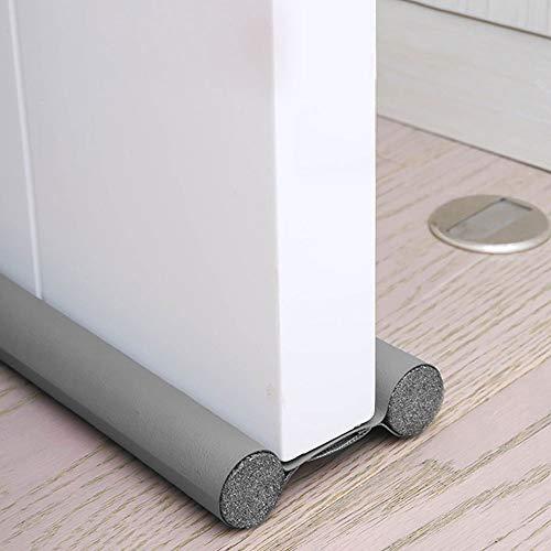 Burlete de puerta doble aislante, burlete de puerta antifrío, burlete de puerta doble aislante, protección contra corrientes de aire anti ruido, junta interior universal impermeable (gris)