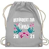 Shirtracer Oma - Befördert zur Oma 2021 mit Blumen - weiß - Unisize - Hellgrau - WM110_Stoffbeutel - WM110 - Turnbeutel und Stoffbeutel aus Baumwolle