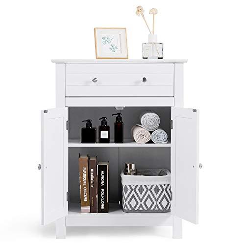 GIANTEX Badschrank mit Schublade, Badezimmerschrank mit höhenverstellbarer Ablage, Holz Badkommode mit Tür, Sideboard für Bad, Küche, weiß