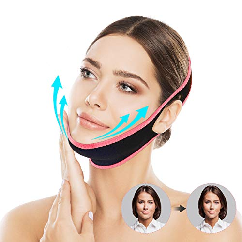 OUTERDO Facial Slimming Strap, Pain Free Face Lifting Belt, Double Chin Reducer Bandage, Breathable V Line Face Lift for Women Eliminates Sagging Skin Lifting Firming Anti Aging Red