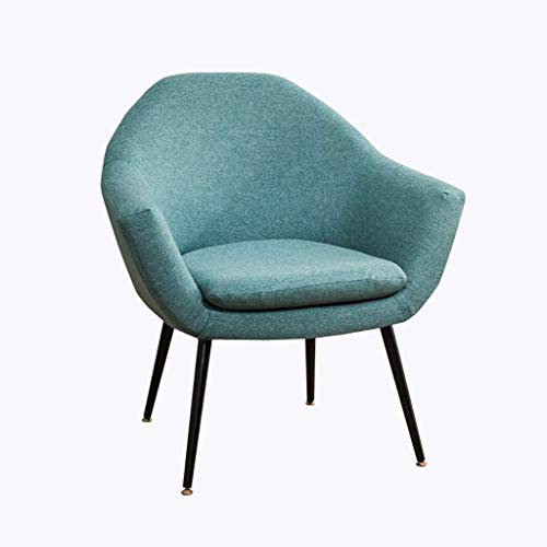 ZXL Meeting Room Linen Fabric Accent Chair with Metal Legs Armchair Sofa Bedroom Living Room Dining Kitchen Reception Lounge Upholstered Chair Contemporary Modern (Color : Dark Blue)