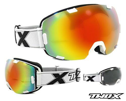 TWO-X AIR Skibrille weiss verspiegelt iridium Spiegelglas Rahmenlos 100% UV Schutz Antifog getönt Snowboardbrille mit Doppelglas