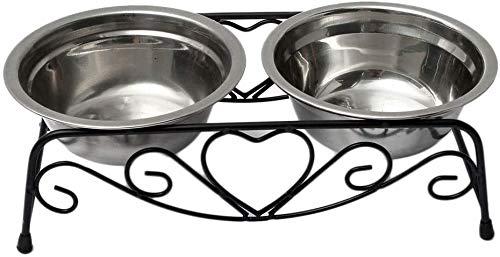 Roestvrijstalen dubbele kommen Pet Bowling Watering voor honden Katten Huisdieren Metalen afdruiprek Honden Katten Huisdieren Voer- en waterbakken Schoon (zwart, maat: 10,23 * 5,11 * 3,34 inch)