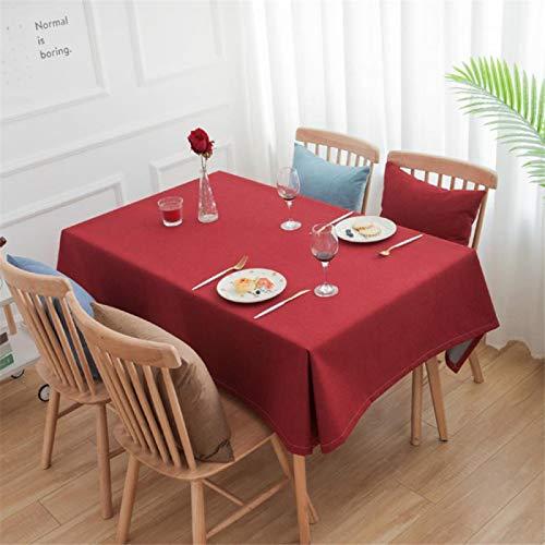 DJUX Mantel Simple para Sala de reuniones de Oficina Mantel de algodón y Lino de Color sólido Mantel Rectangular Impermeable para Mesa de café 130x130cm
