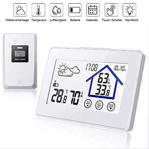 SDRFSWE thermometer, hygrometer voor binnen, digitale monitor, luchtvochtigheid, temperatuur kamerthermometer met comfort-symbool, touchscreen, °F omschakelbaar, voor slaapkamer, kantoor, woonkamer