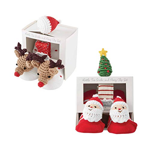 Mud Pie Christmas Pacy Clip and Sock Set of 2 (Reindeer)