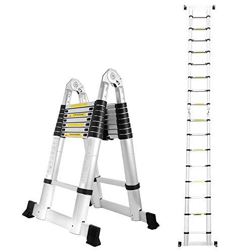 Escalera telescópica de aluminio de 5M, lado doble, 2,5M +