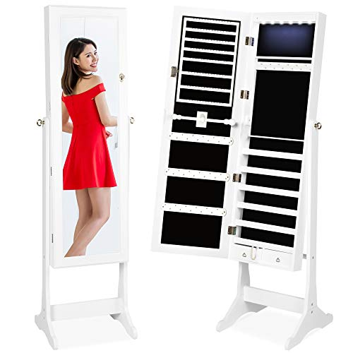 Best Choice Products 6-Tier Full Length Standing Mirrored Lockable Jewelry Storage Organizer Cabinet Armoire w 6 LED Interior Lights 3 Angle Adjustments Velvet Lining White