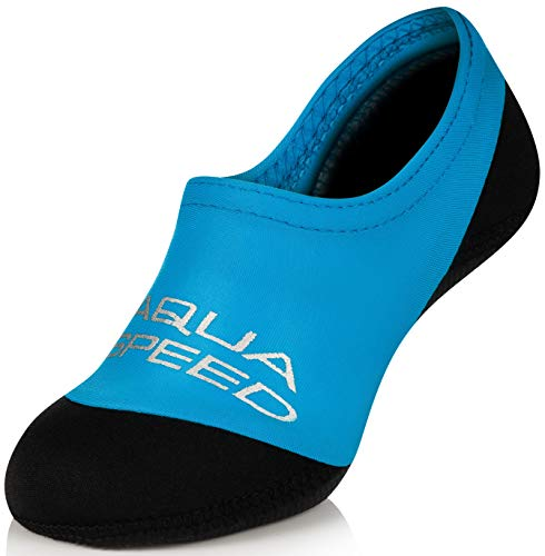 Aqua Speed Kinder Schwimmsocken | Neoprensocken Anti-Rutsch | Neopren Badesocken für Kleinkind | Baby Aqua Socken | Strandsocken | Swim Socks Kids Boys | Beach | Blau; Gr. 20-21 | Neo