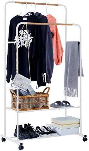 YOUDENOVA Clothes Rack on Wheels Double Rails Rolling Clothing Rack with Shelves Modern Coat product image