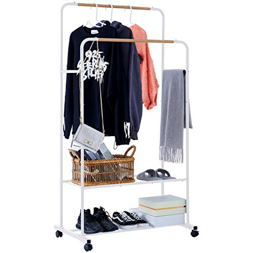YOUDENOVA Clothing Rack with Shelves Rolling Clothes Rack on Wheels Double Rails Hanging Garment Rack White Coat Rack