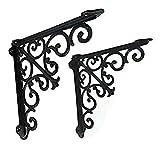 2 piezas de soportes de estante de metal negro decorativo de hierro fundido, soportes de soporte victorianos montados en la pared, marco de estantes flotantes vintage negro