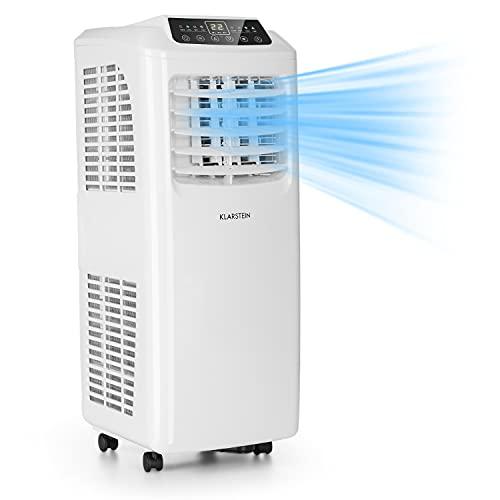 Klarstein Pure Blizzard 3 2G - Aire acondicionado portátil, Clase A, Ventilador, Deshumidificador, 3 en 1, 7.000 BTU/h, 808 W, Programable, Mando a distancia, Pantalla LED, 30 x 76 x 31 cm, Blanco