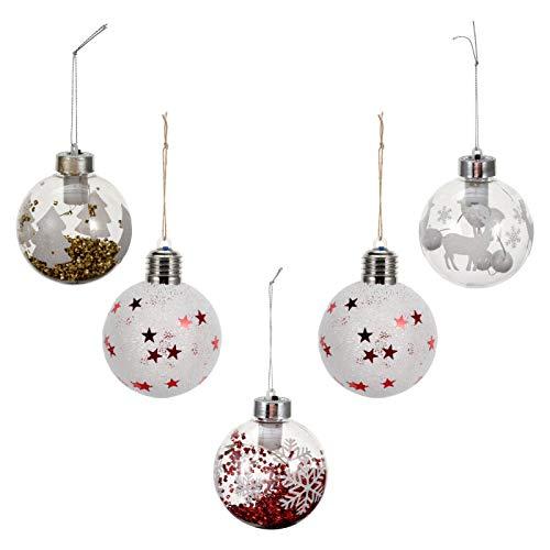 VOSAREA 5pcs LED Weihnachtskugeln Christbaumkugeln beleuchtet Weihnachtsbaumkugeln LED Deko Kugel Lampe Bruchsicher Plastik Baumschmuck Sternenlicht Weihnachtshänger Innen Xmas Beleuchtung