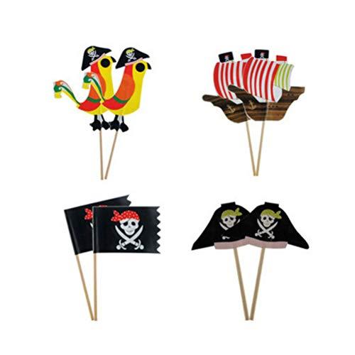 Amosfun Kuchen Topper Piraten Element Kuchendeckel Kuchendekoration Piraten Thema Geburtstag Hochzeit Party Zubehör 80 Stück