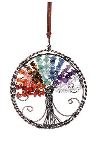 CrystalTears 7 Chakra Tree Of Life Hanging Ornament Natural Reiki Healing Crystal Wall Car Hanging Window Ornament for Home Office Decoration Meditation Good Luck