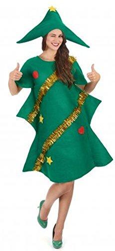 Costume abete Natale donna travestimento albero di Natale taglia unica vestito a forma di abete con ghirlande dorate copricapo con puntale vestito verde albero costume donna miss Santa babbo Natale