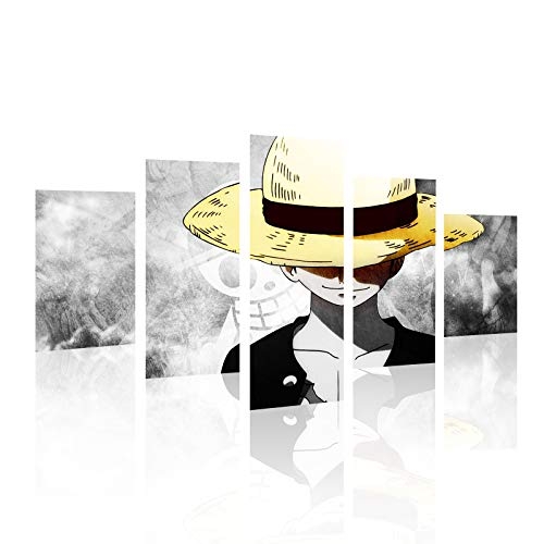 HCOZY Stampa su Tela, 5 Pezzi One Piece Anime Monkey D. Luffy Poster Tela Wall Art Painting for Home Living Room Office Mordern Decoration Gift (Senza Cornice)