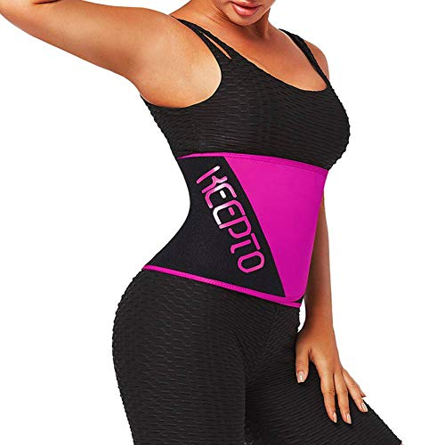 KEEPTO Neoprene Waist Trainer Corset for Women and Men Firm Control Sweat Belt Plus Size Rose Red XXL