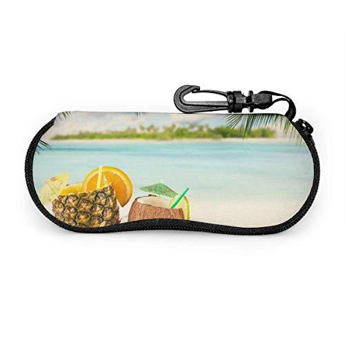 SDFGJ Estuche para gafas con mosquetón Tropical Seaside Beach Bolso ultraligero portátil de neopreno con cremallera Estuche para gafas de sol duradero