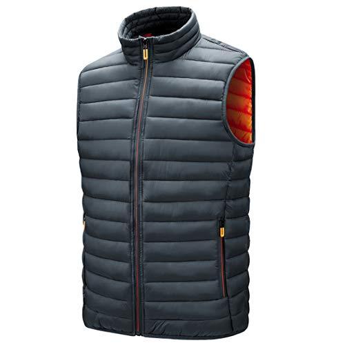 Chaleco para Hombre Chaquetas sin Mangas Chaleco cálido Homme Invierno Chaleco de algodón Acolchado Informal Gray XL
