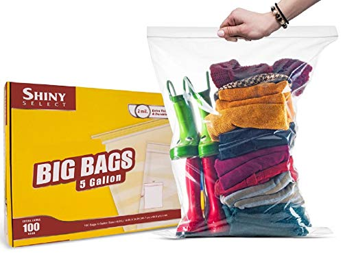 """Extra Large Super Big Bags, Jumbo Clear Storage Plastic Bags, 18""""x24"""" 5 Gallon Size Bags for Moving, Traveling, Organization or Freezer, 100 Count"""