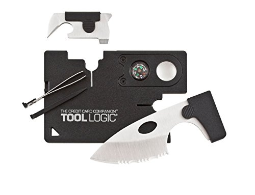 Tool Logic Credit Card Companion with Lens/Compass CC1SB - 9 Tools, Black, 2' Blade