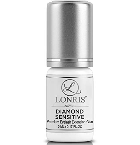 FUMELESS Eyelash Extensions Glue - No Irritation - LONRIS Diamond Sensitive 5 ml - Professional Lash Adhesive for Beginners and Experts - 3-4 Weeks Strong Hold