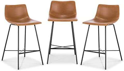 Poly and Bark Paxton 24 Counter Stool Set of 3 Tan product image