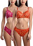 StyFun Cotton Flower Print Padded Bra Panty Set for Women, Non Wired, Full Coverage, Tshirt, Back Closure Hook and Eye, Push up, Teenage, Regular, Soft Cups, Pack 2, Orange Pink, Cup B, Size- 32
