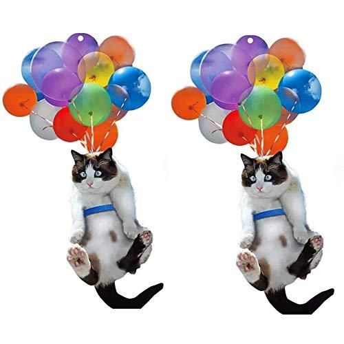 GSTX 2 Piezas de Gato y Globo, Adorno para Colgar en el Coche, Amante de los Gatos, Colgante de Coche, Gato Lindo Creativo, decoración Interior de Coche de Animal Divertido para
