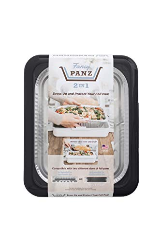 Fancy Panz 2-in-1 USA-Made Portable Casserole Carrier for Shallow and Deep Half Size Foil Steam Pans, Foil Pan and Serving Spoon Included (Charcoal)