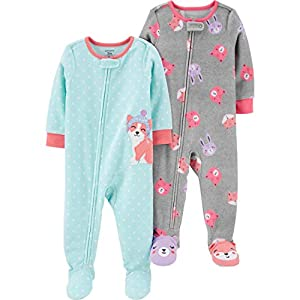 Carter's Girls' Toddler 2-Pack Loose Fit Fleece Footed Pajamas