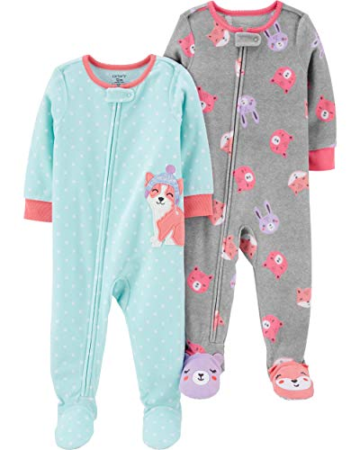 Carter's Baby Girls 2-Pack Loose Fit Fleece Footed Pajamas, Blue Corgi/Heather Grey Faces, 18 Months