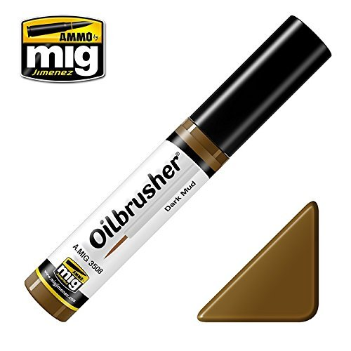 Ammo of Mig Oilbrusher Dark Mud - Oil Paint with Fine Brush Applicator #3508