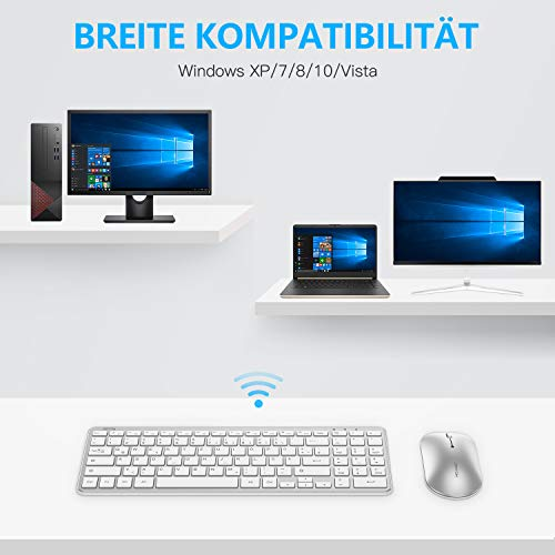OMOTON Tastatur Maus Set kabellos, Funktastatur Maus mit Ziffernblock, Wireless Tastatur mit USB-Empfänger für Büroarbeit, Deutsches QWERTZ-Layout für Windows PC/Computer/Laptop/Notebook, Silber