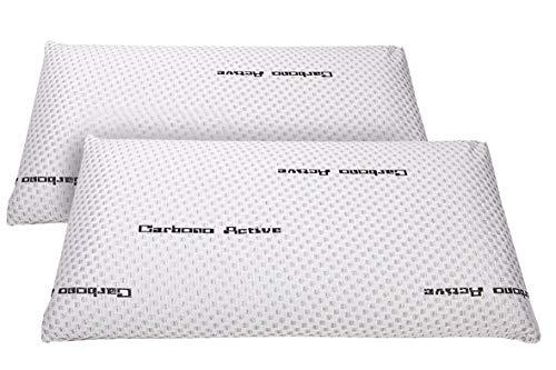 elalmacendelcolchon Pack de 2 Almohadas Viscoelástica Modelo Carbono Perforada, Máxima Adaptabilidad, Blanca - 60 cm - Otras Medidas Disponibles