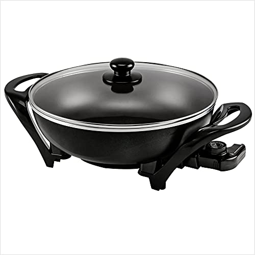 Ovente 13 Inch Electric Kitchen Skillet with Nonstick Aluminum Coated Surface & Glass Lid Cover, Indoor Countertop Cooking Wok with Temperature Control and Handle Compact Easy Clean, Black SK3113B