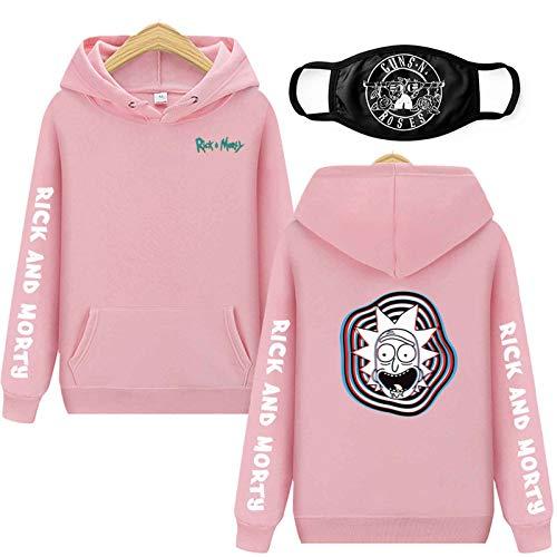 Vowit Rick Morty Sudadera con capucha impresa en 3D para hombre y mujer, sudadera con capucha para hombre, color rosa, XXL