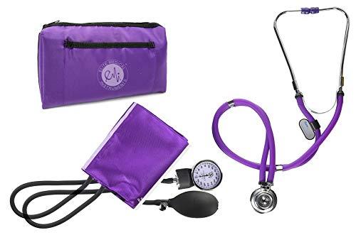 EMI Professional Deluxe PURPLE Aneroid Sphygmomanometer and Sprague Rappaport Stethoscope Set Kit #330